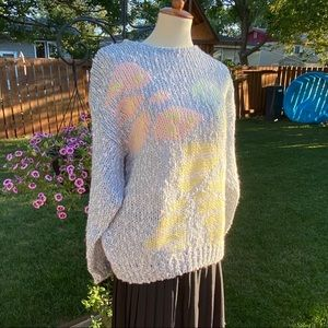 Vtg 80s Sweater Acrylic Knit Boucle Pastel Retro